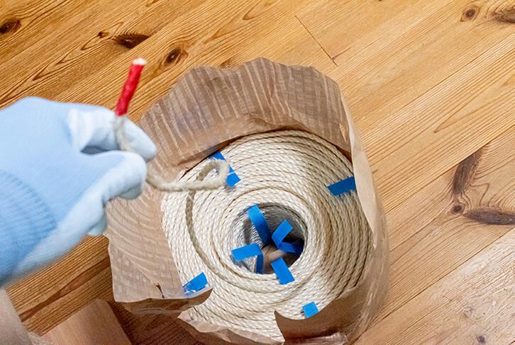 新しい麻縄は梱包のまま使う